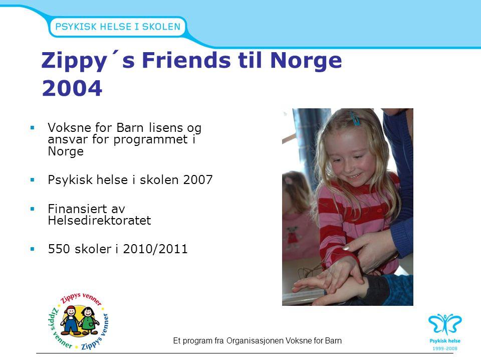 Zippy´s Friends til Norge 2004  Voksne for Barn lisens og ansvar for programmet i Norge  Psykisk helse i skolen 2007  Finansiert av Helsedirektorat