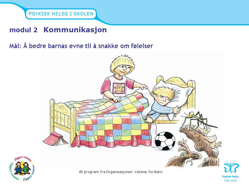 modul 2 Kommunikasjon Mål: Å bedre barnas evne til å snakke om følelser Et program fra Organisasjonen Voksne for Barn