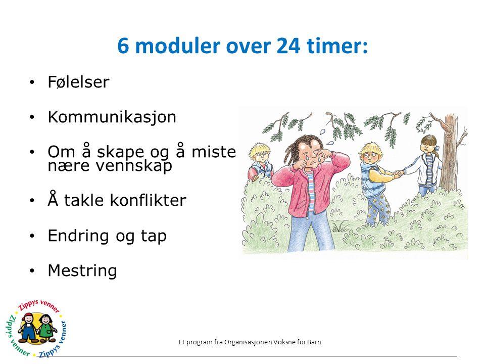 6 moduler over 24 timer: Følelser Kommunikasjon Om å skape og å miste nære vennskap Å takle konflikter Endring og tap Mestring Et program fra Organisa