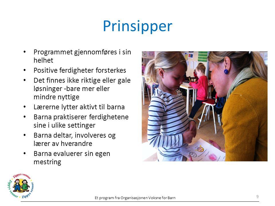 Prinsipper Programmet gjennomføres i sin helhet Positive ferdigheter forsterkes Det finnes ikke riktige eller gale løsninger -bare mer eller mindre ny
