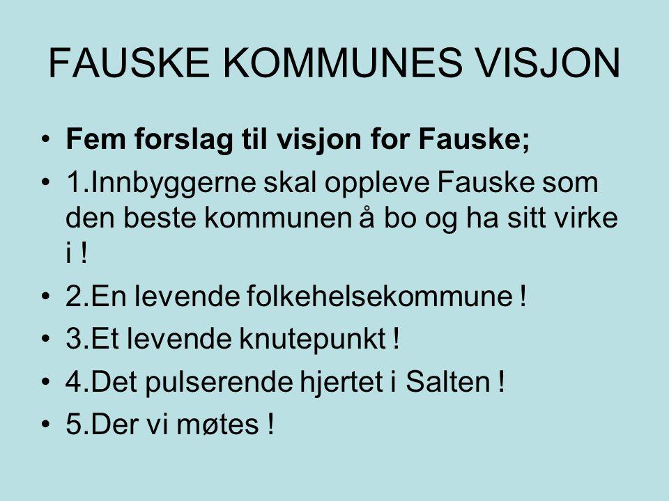 FAUSKE KOMMUNES VISJON Fem forslag til visjon for Fauske; 1.Innbyggerne skal oppleve Fauske som den beste kommunen å bo og ha sitt virke i .