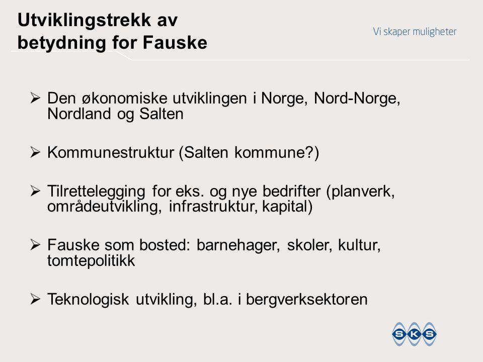 Utviklingstrekk av betydning for Fauske  Den økonomiske utviklingen i Norge, Nord-Norge, Nordland og Salten  Kommunestruktur (Salten kommune?)  Til