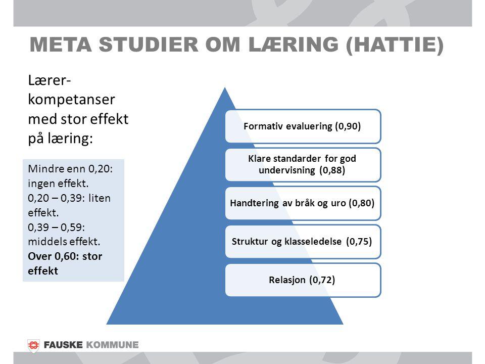 META STUDIER OM LÆRING (HATTIE) Formativ evaluering (0,90) Klare standarder for god undervisning (0,88) Handtering av bråk og uro (0,80)Struktur og kl