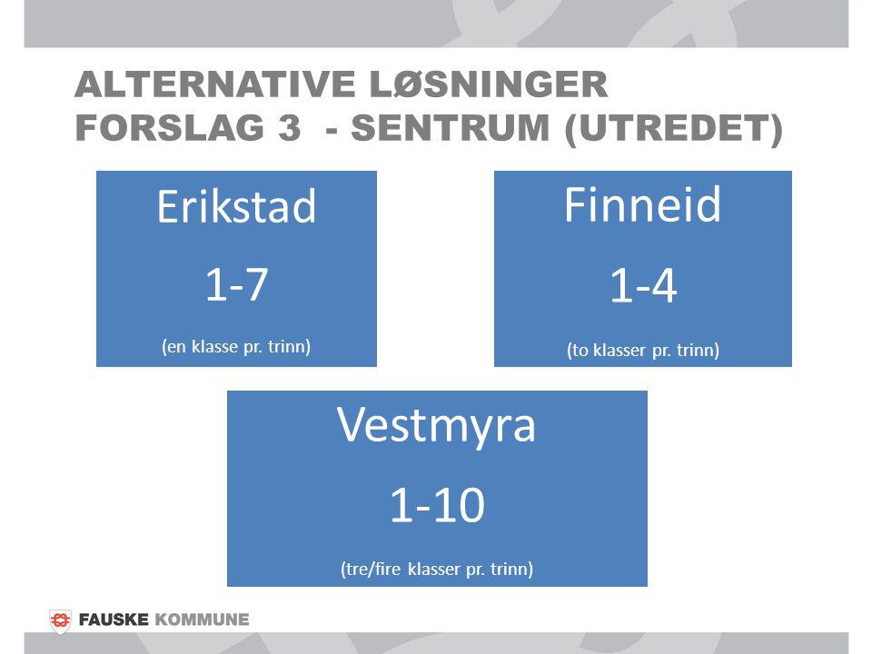ALTERNATIVE LØSNINGER FORSLAG 3 - SENTRUM (UTREDET) Erikstad 1-7 (en klasse pr. trinn) Finneid 1-4 (to klasser pr. trinn) Vestmyra 1-10 (tre/fire klas