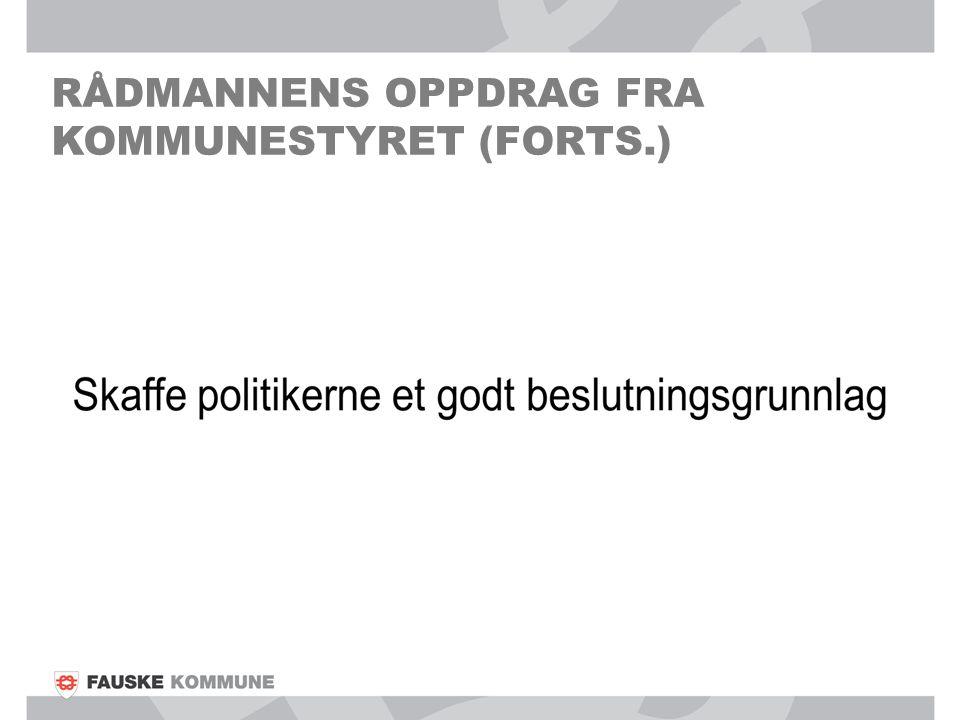 RÅDMANNENS OPPDRAG FRA KOMMUNESTYRET (FORTS.)