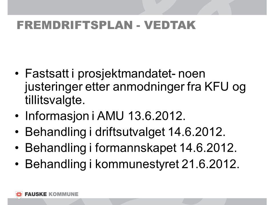 FREMDRIFTSPLAN - VEDTAK Fastsatt i prosjektmandatet- noen justeringer etter anmodninger fra KFU og tillitsvalgte. Informasjon i AMU 13.6.2012. Behandl