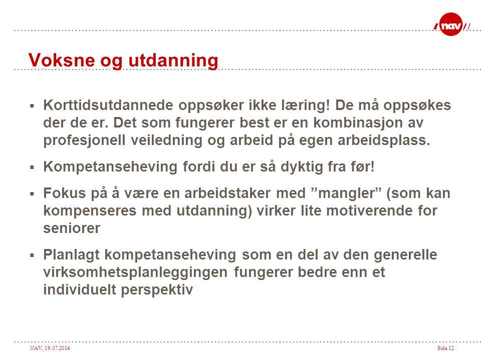 NAV, 19.07.2014Side 12 Voksne og utdanning  Korttidsutdannede oppsøker ikke læring.