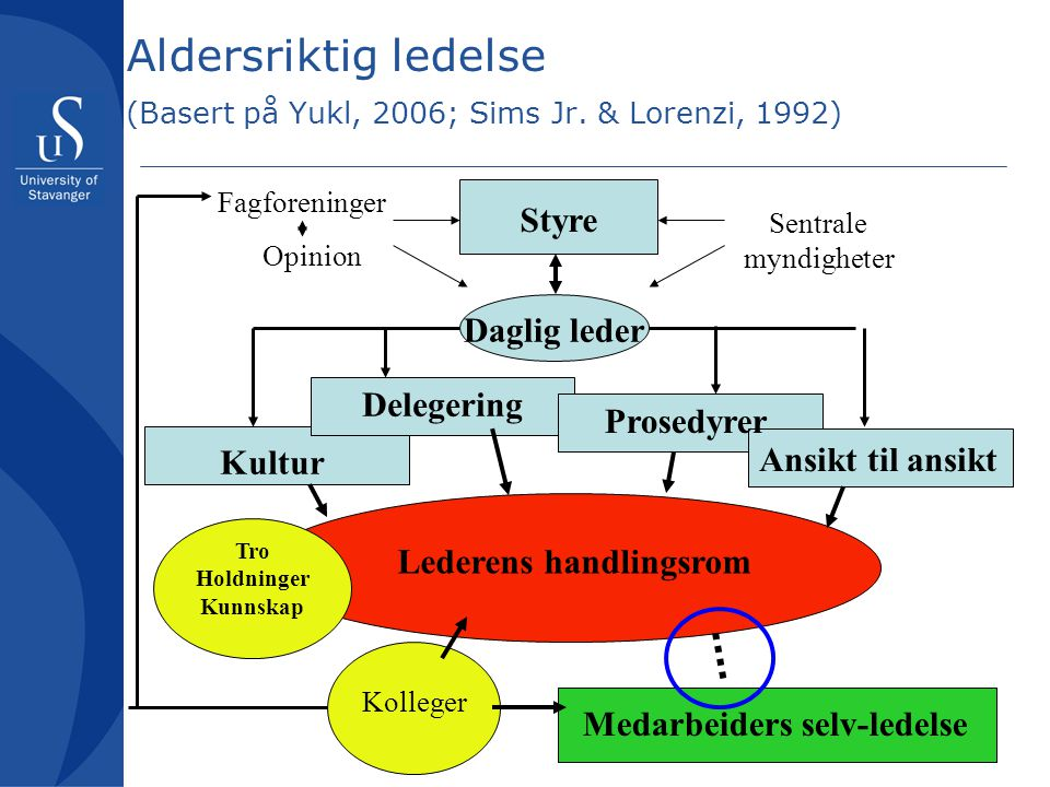Aldersriktig ledelse (Basert på Yukl, 2006; Sims Jr. & Lorenzi, 1992) Board Styre Daglig leder Kultur Delegering Prosedyrer Ansikt til ansikt Lederens
