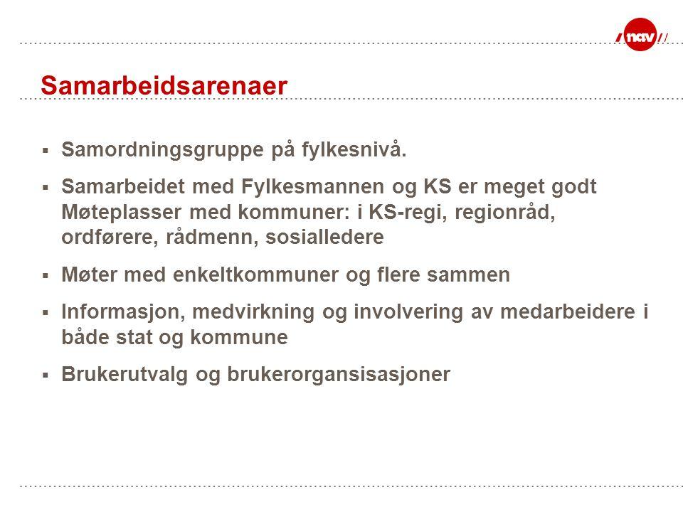 Samarbeidsarenaer  Samordningsgruppe på fylkesnivå.