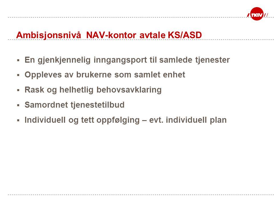 Ambisjonsnivå NAV-kontor avtale KS/ASD  En gjenkjennelig inngangsport til samlede tjenester  Oppleves av brukerne som samlet enhet  Rask og helhetlig behovsavklaring  Samordnet tjenestetilbud  Individuell og tett oppfølging – evt.