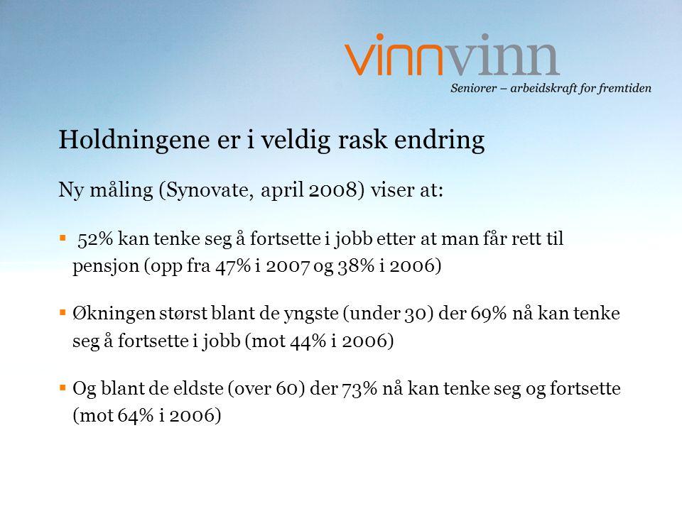Holdningene er i veldig rask endring Ny måling (Synovate, april 2008) viser at:  52% kan tenke seg å fortsette i jobb etter at man får rett til pensj