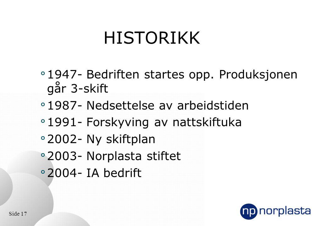Side 17 HISTORIKK ° 1947- Bedriften startes opp. Produksjonen går 3-skift ° 1987- Nedsettelse av arbeidstiden ° 1991- Forskyving av nattskiftuka ° 200