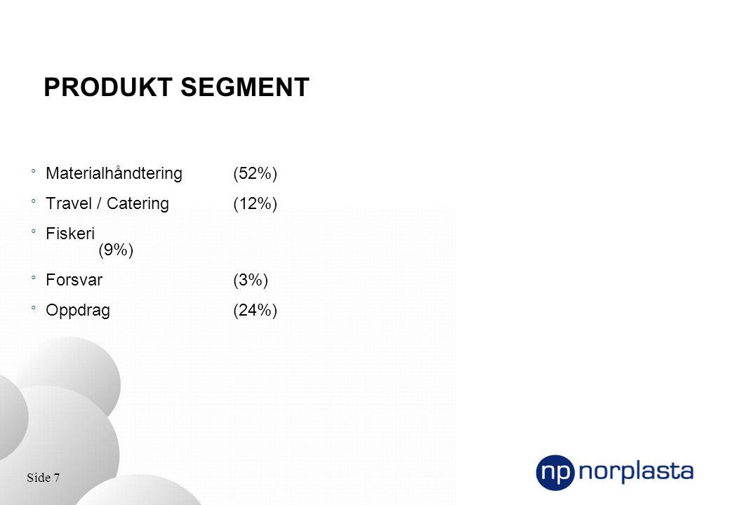 Side 7 ° Materialhåndtering(52%) ° Travel / Catering (12%) ° Fiskeri (9%) ° Forsvar (3%) ° Oppdrag (24%) PRODUKT SEGMENT