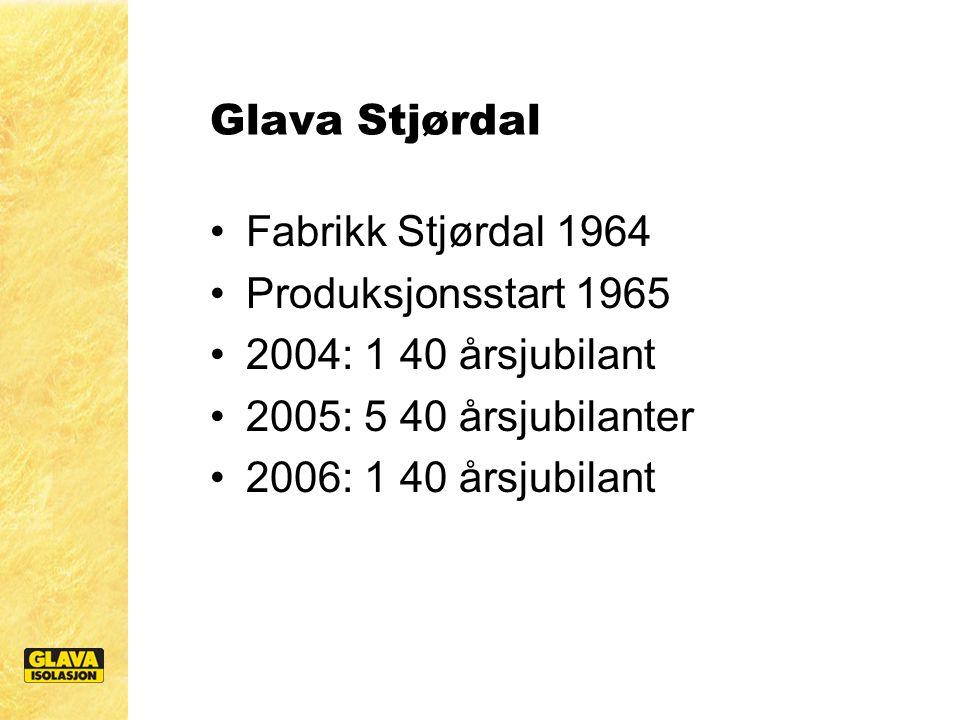 Glava Stjørdal Fabrikk Stjørdal 1964 Produksjonsstart 1965 2004: 1 40 årsjubilant 2005: 5 40 årsjubilanter 2006: 1 40 årsjubilant
