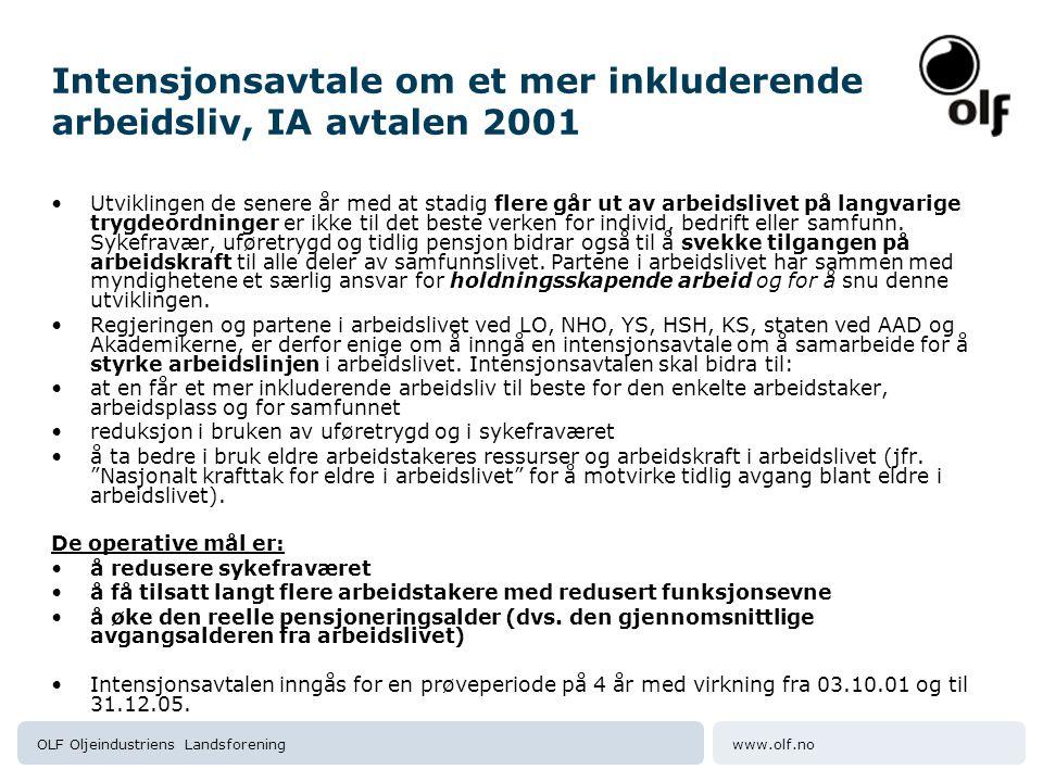 www.olf.noOLF Oljeindustriens Landsforening Intensjonsavtale om et mer inkluderende arbeidsliv, IA avtalen 2001 Utviklingen de senere år med at stadig