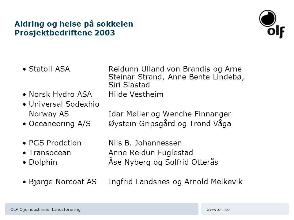 www.olf.noOLF Oljeindustriens Landsforening Aldring og helse på sokkelen Prosjektbedriftene 2003 Statoil ASAReidunn Ulland von Brandis og Arne Steinar