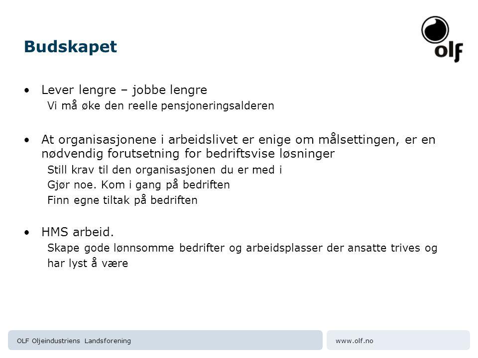 www.olf.noOLF Oljeindustriens Landsforening Budskapet Lever lengre – jobbe lengre Vi må øke den reelle pensjoneringsalderen At organisasjonene i arbei