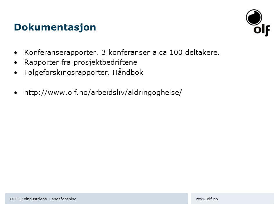 www.olf.noOLF Oljeindustriens Landsforening Dokumentasjon Konferanserapporter. 3 konferanser a ca 100 deltakere. Rapporter fra prosjektbedriftene Følg