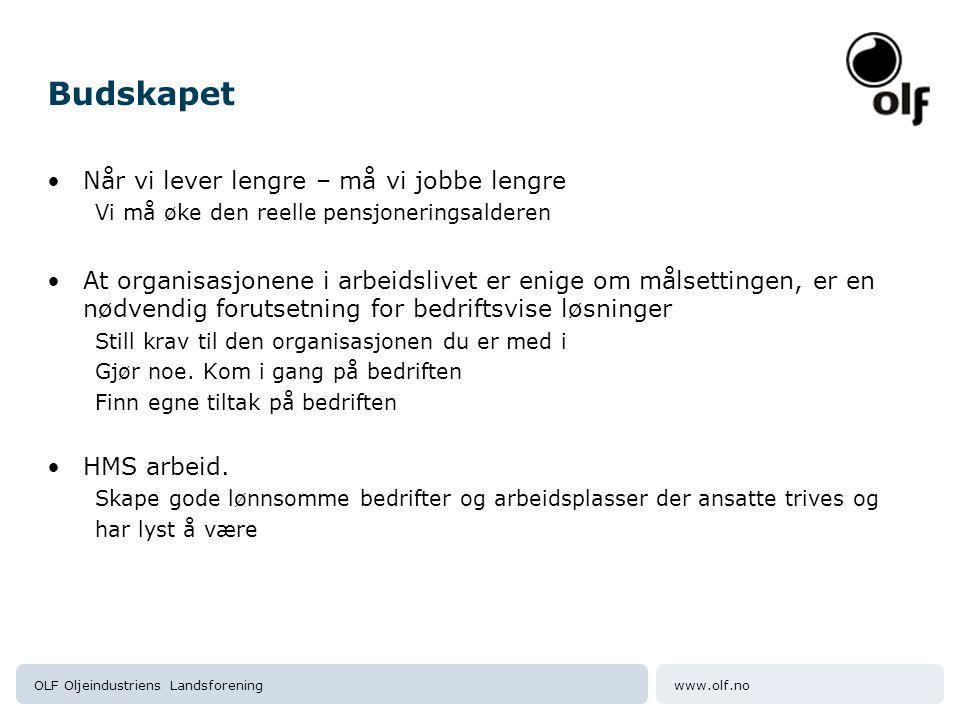 www.olf.noOLF Oljeindustriens Landsforening Budskapet Når vi lever lengre – må vi jobbe lengre Vi må øke den reelle pensjoneringsalderen At organisasj