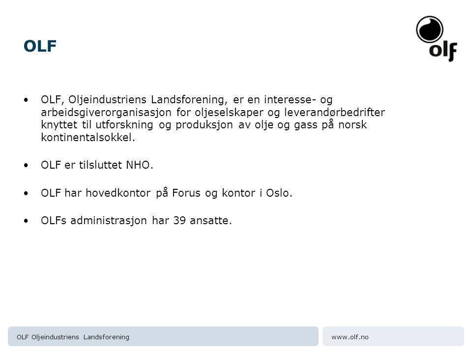 www.olf.noOLF Oljeindustriens Landsforening OLF representerer 27 oljeselskaper Oljeselskapene er enten innehavere av eller deltakere i utvinningstillatelser for olje og gass på norsk sokkel.