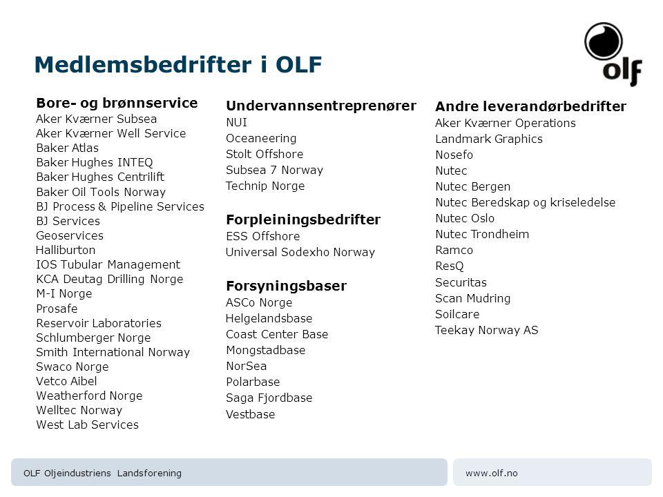 www.olf.noOLF Oljeindustriens Landsforening Medlemsbedrifter i OLF Bore- og brønnservice Aker Kværner Subsea Aker Kværner Well Service Baker Atlas Bak
