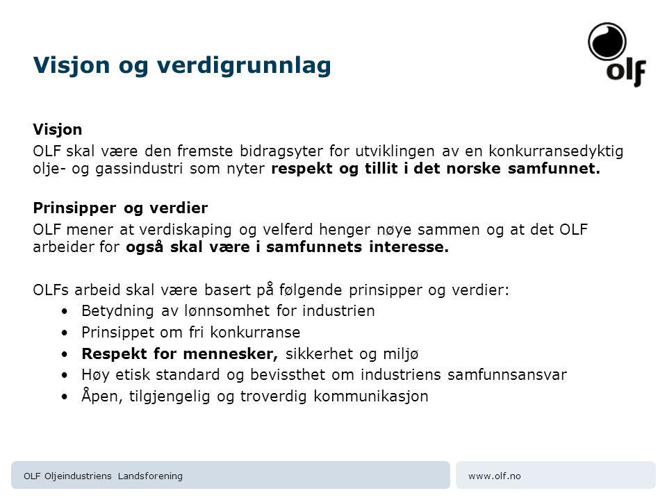 www.olf.noOLF Oljeindustriens Landsforening Visjon og verdigrunnlag Visjon OLF skal være den fremste bidragsyter for utviklingen av en konkurransedykt