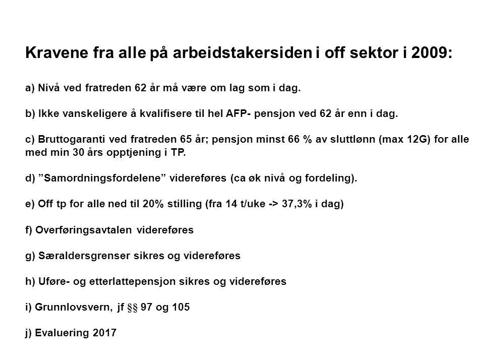 Kravene fra alle på arbeidstakersiden i off sektor i 2009: a) Nivå ved fratreden 62 år må være om lag som i dag.