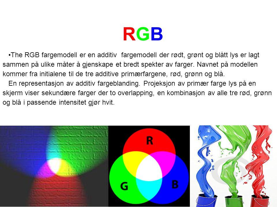 RGBRGB The RGB fargemodell er en additiv fargemodell der rødt, grønt og blått lys er lagt sammen på ulike måter å gjenskape et bredt spekter av farger