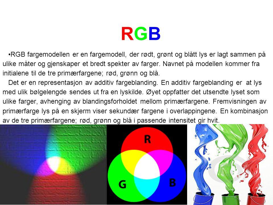 RGBRGB RGB fargemodellen er en fargemodell, der rødt, grønt og blått lys er lagt sammen på ulike måter og gjenskaper et bredt spekter av farger. Navne