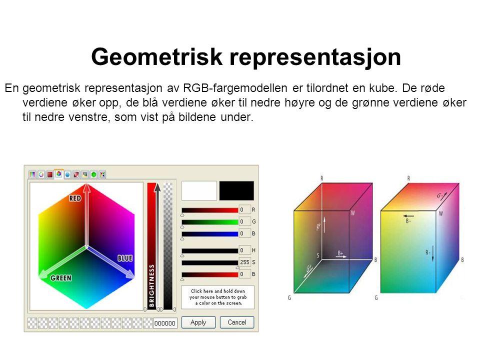 Geometrisk representasjon En geometrisk representasjon av RGB-fargemodellen er tilordnet en kube. De røde verdiene øker opp, de blå verdiene øker til