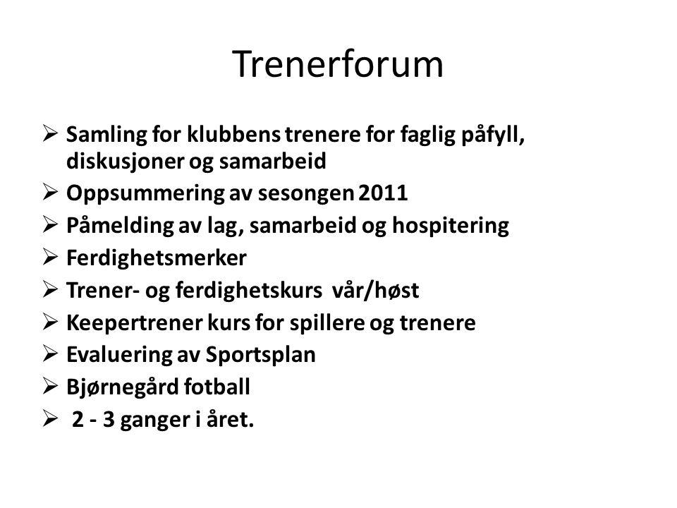 Trenerforum  Samling for klubbens trenere for faglig påfyll, diskusjoner og samarbeid  Oppsummering av sesongen 2011  Påmelding av lag, samarbeid o