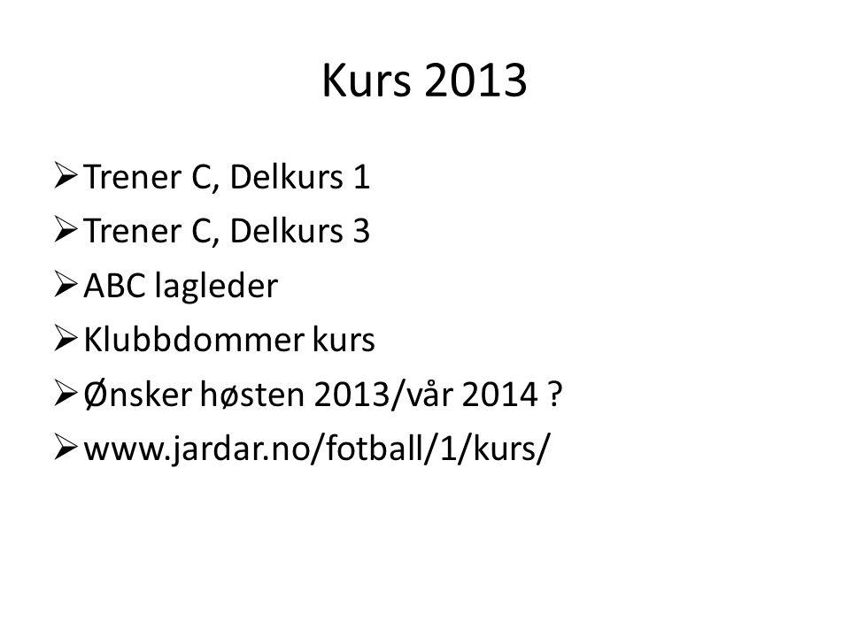 Kurs 2013  Trener C, Delkurs 1  Trener C, Delkurs 3  ABC lagleder  Klubbdommer kurs  Ønsker høsten 2013/vår 2014 ?  www.jardar.no/fotball/1/kurs