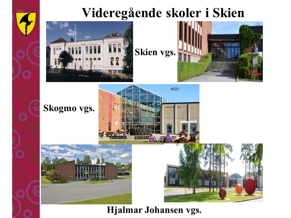 Skogmo vgs. Hjalmar Johansen vgs. Skien vgs. Videregående skoler i Skien