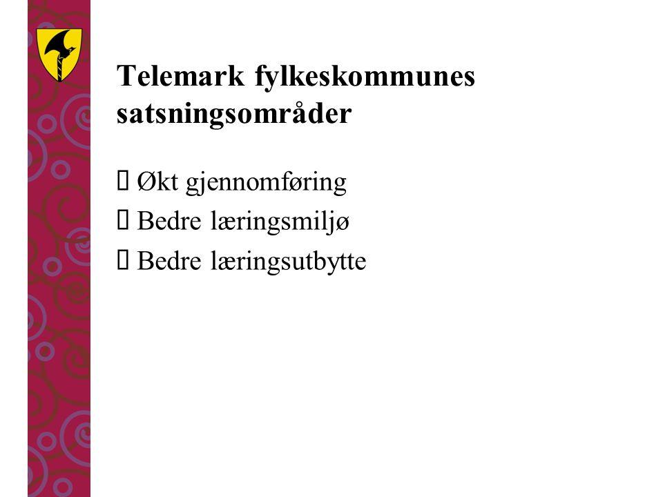 Telemark fylkeskommunes satsningsområder  Økt gjennomføring  Bedre læringsmiljø  Bedre læringsutbytte