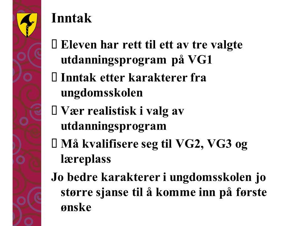 Inntak  Eleven har rett til ett av tre valgte utdanningsprogram på VG1  Inntak etter karakterer fra ungdomsskolen  Vær realistisk i valg av utdanni