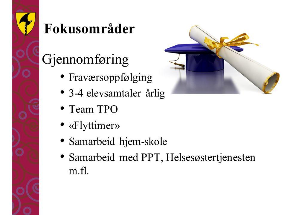 Fokusområder Gjennomføring Fraværsoppfølging 3-4 elevsamtaler årlig Team TPO «Flyttimer» Samarbeid hjem-skole Samarbeid med PPT, Helsesøstertjenesten