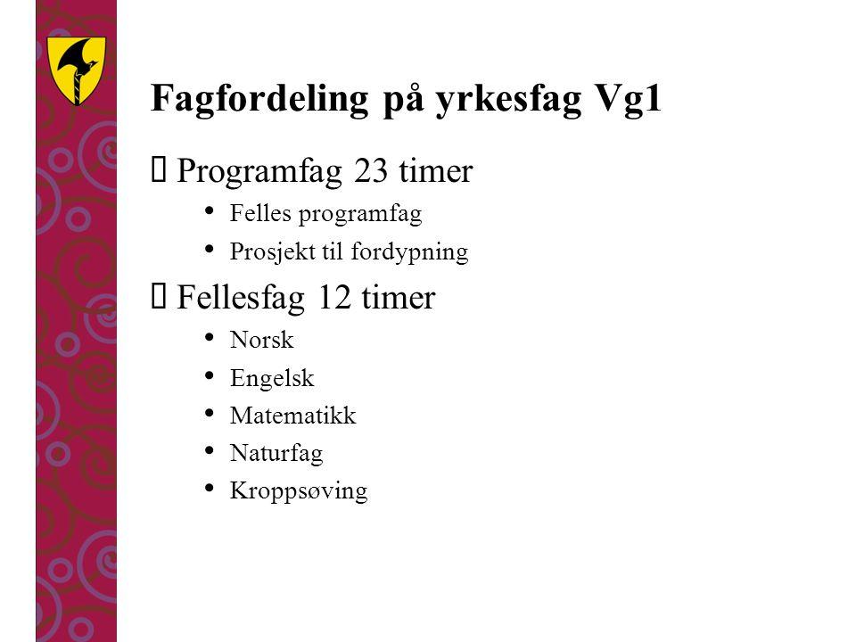 Fagfordeling på yrkesfag Vg1  Programfag 23 timer Felles programfag Prosjekt til fordypning  Fellesfag 12 timer Norsk Engelsk Matematikk Naturfag Kr