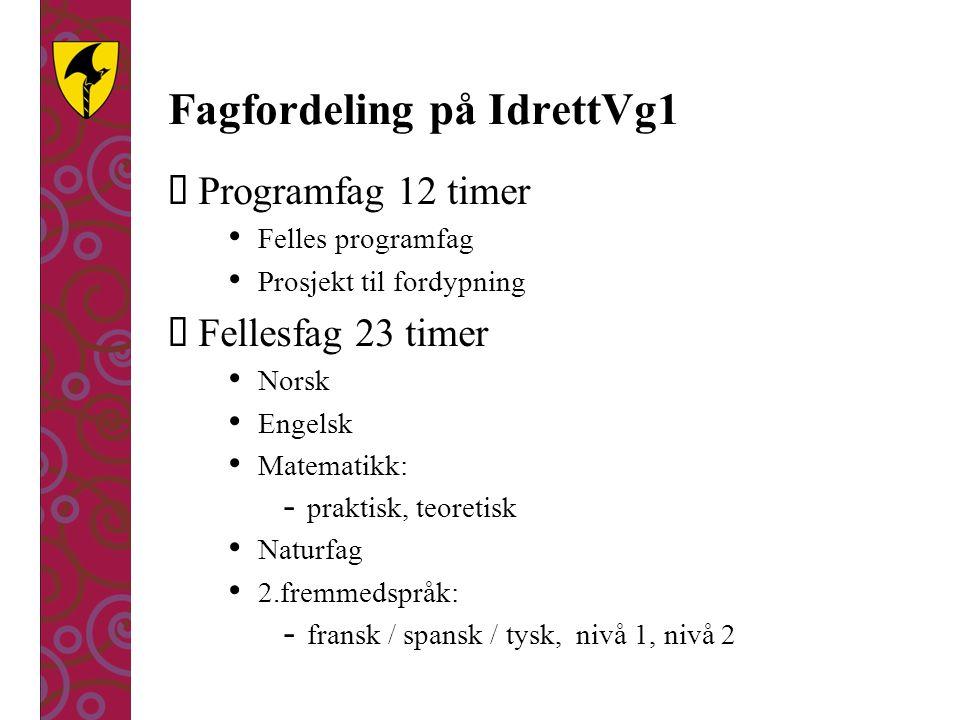 Fagfordeling på IdrettVg1  Programfag 12 timer Felles programfag Prosjekt til fordypning  Fellesfag 23 timer Norsk Engelsk Matematikk: - praktisk, t