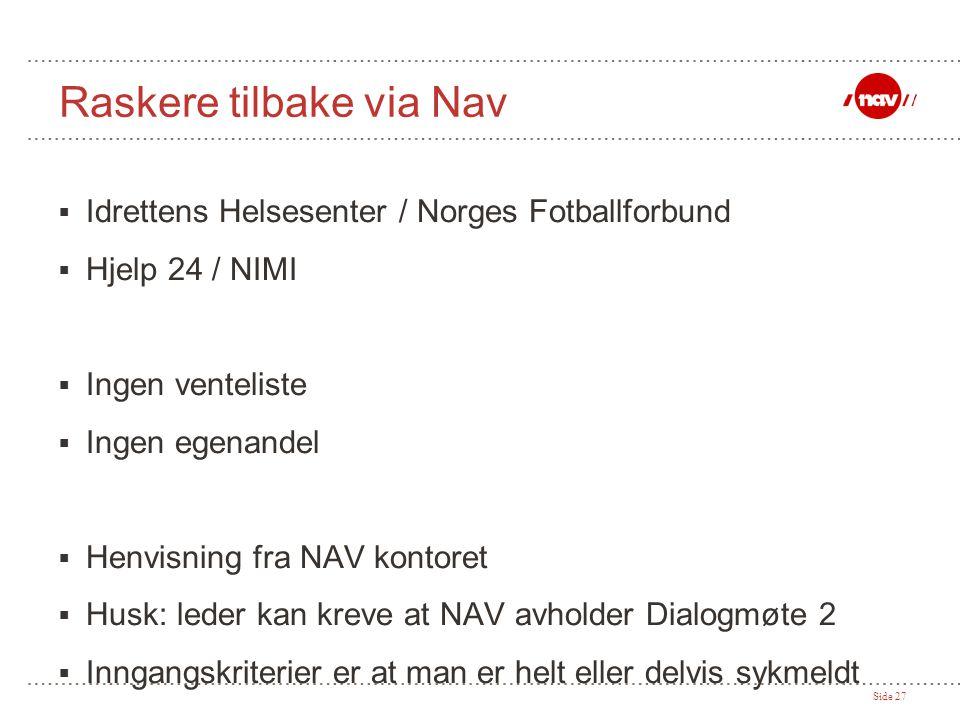 Side 27 Raskere tilbake via Nav  Idrettens Helsesenter / Norges Fotballforbund  Hjelp 24 / NIMI  Ingen venteliste  Ingen egenandel  Henvisning fr