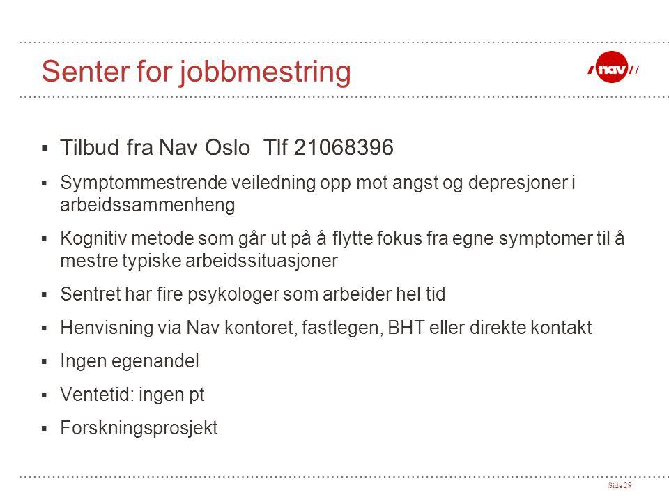 Side 29 Senter for jobbmestring  Tilbud fra Nav Oslo Tlf 21068396  Symptommestrende veiledning opp mot angst og depresjoner i arbeidssammenheng  Ko