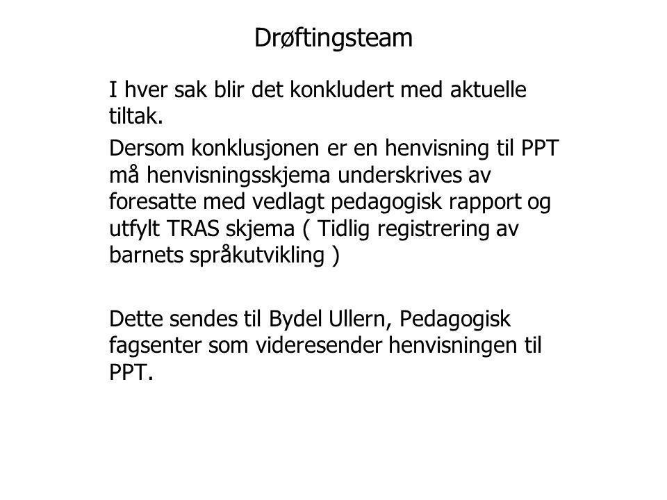 Språkdrøfting I dette teamet er spesialpedagog erstattet med logoped Ida Myhre Pedersen og en støttepedagog Prosedyrene er de samme som til drøftingsteam