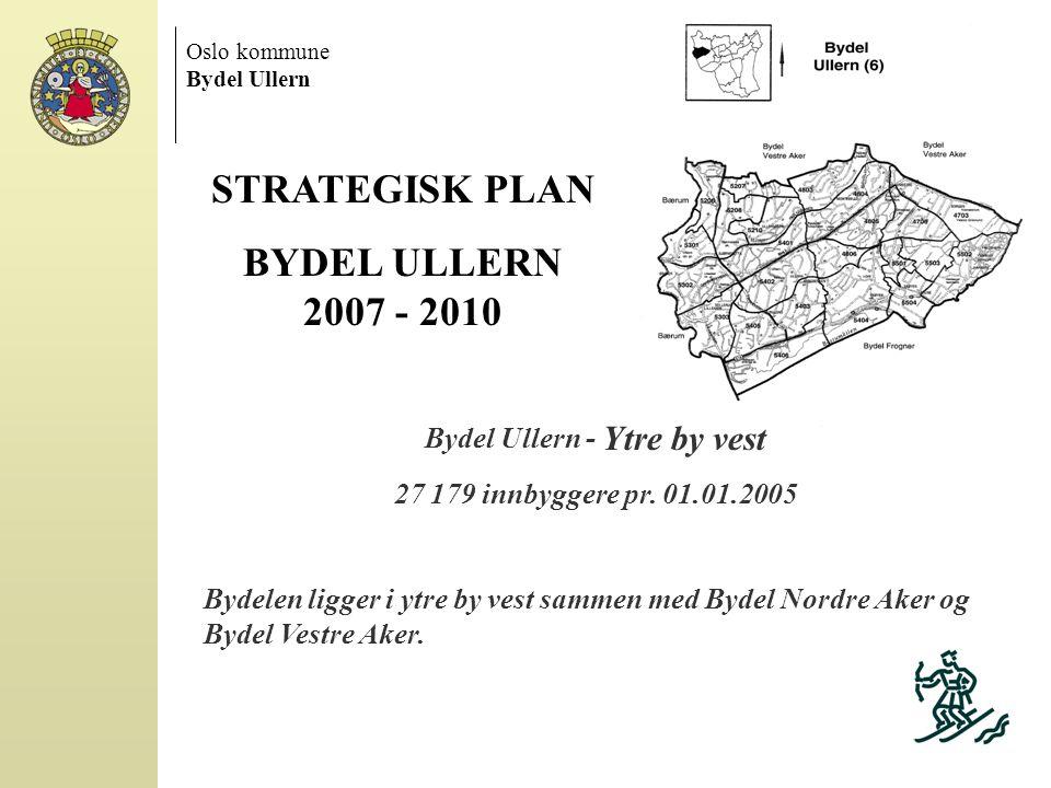 Oslo kommune Bydel Ullern STRATEGISK PLAN BYDEL ULLERN 2007 - 2010 Bydel Ullern - Ytre by vest 27 179 innbyggere pr. 01.01.2005 Bydelen ligger i ytre