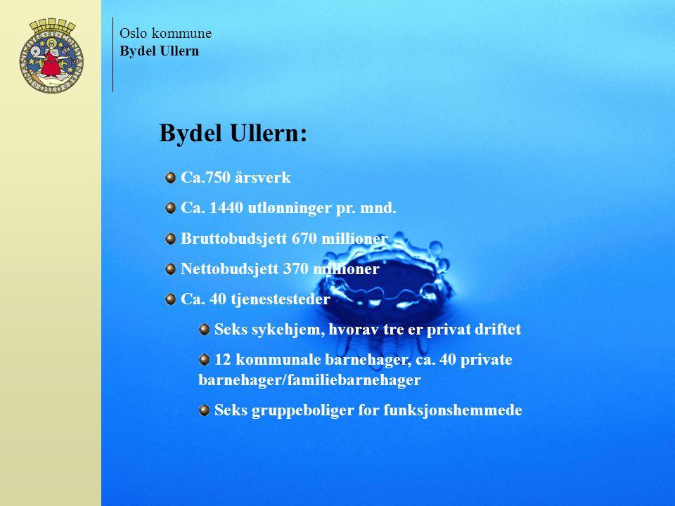 Oslo kommune Bydel Ullern Ca.750 årsverk Ca. 1440 utlønninger pr. mnd. Bruttobudsjett 670 millioner Nettobudsjett 370 millioner Ca. 40 tjenestesteder