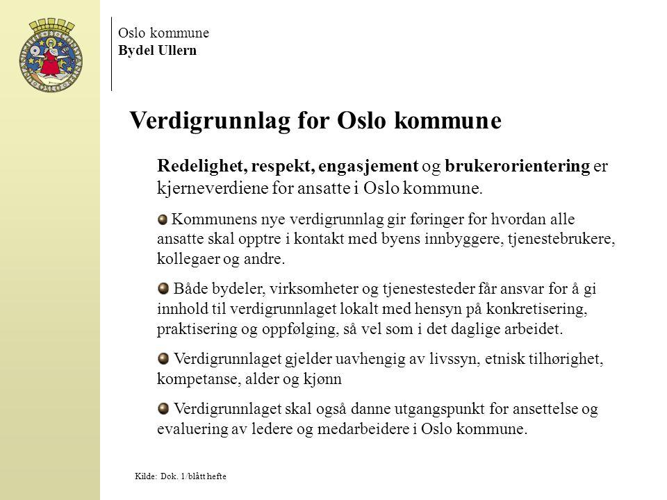 Oslo kommune Bydel Ullern Verdigrunnlag for Oslo kommune Redelighet, respekt, engasjement og brukerorientering er kjerneverdiene for ansatte i Oslo kommune.