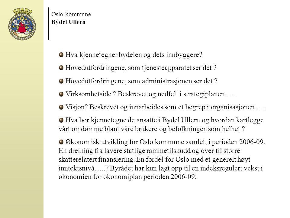 Oslo kommune Bydel Ullern Hva kjennetegner bydelen og dets innbyggere? Hovedutfordringene, som tjenesteapparatet ser det ? Hovedutfordringene, som adm