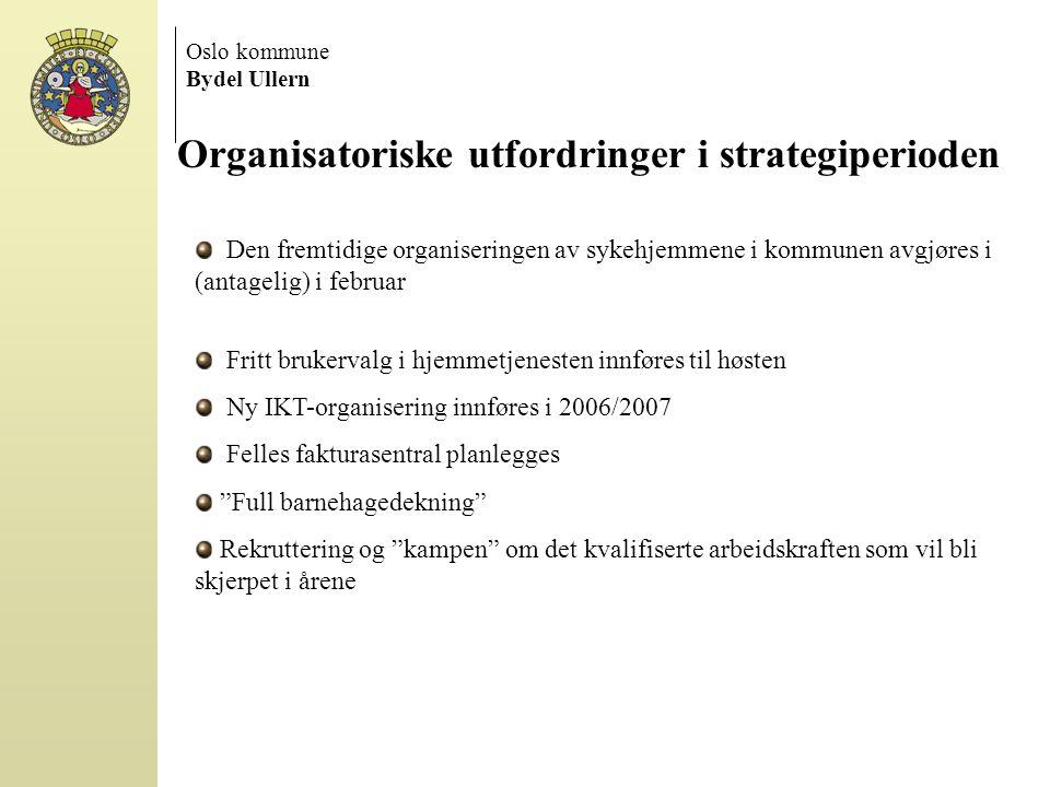 Oslo kommune Bydel Ullern Organisatoriske utfordringer i strategiperioden Den fremtidige organiseringen av sykehjemmene i kommunen avgjøres i (antagel