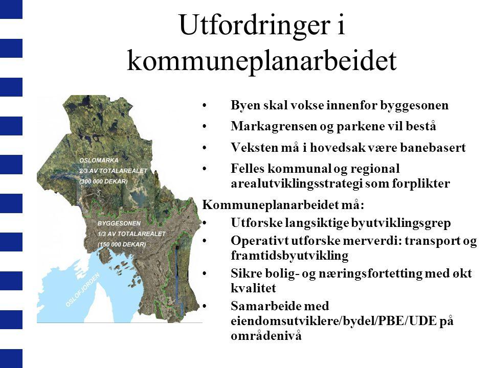 Utfordringer i kommuneplanarbeidet Byen skal vokse innenfor byggesonen Markagrensen og parkene vil bestå Veksten må i hovedsak være banebasert Felles