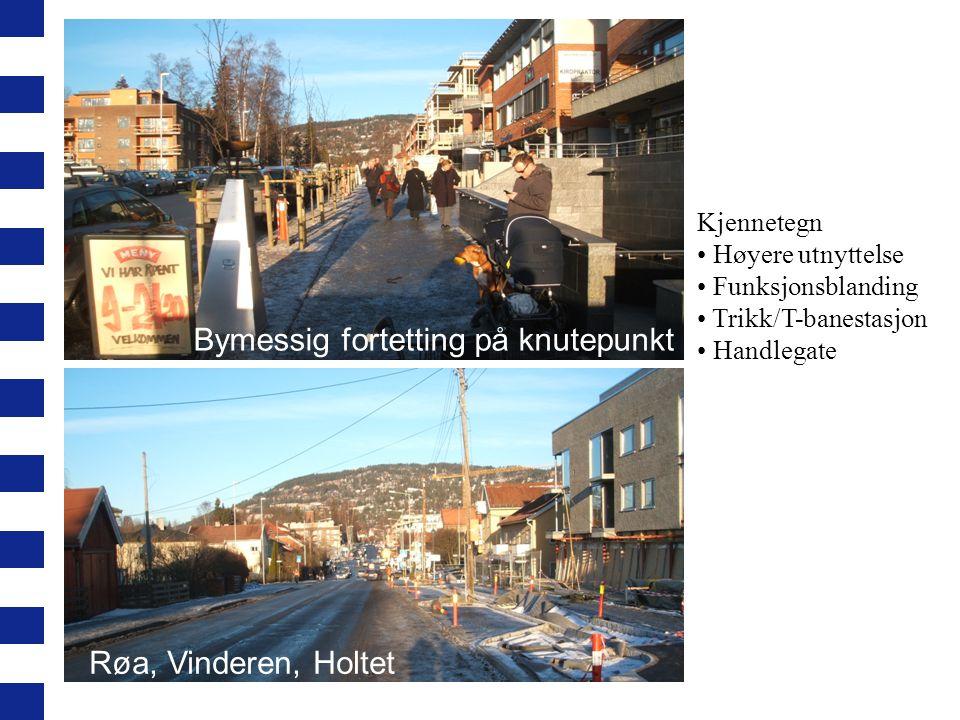 Kjennetegn Høyere utnyttelse Funksjonsblanding Trikk/T-banestasjon Handlegate Bymessig fortetting på knutepunkt Røa, Vinderen, Holtet