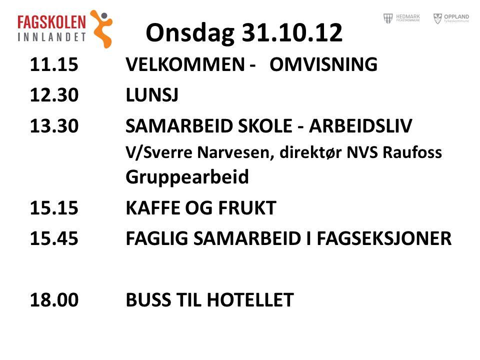 Onsdag 31.10.12 11.15VELKOMMEN - OMVISNING 12.30LUNSJ 13.30 SAMARBEID SKOLE - ARBEIDSLIV V/Sverre Narvesen, direktør NVS Raufoss Gruppearbeid 15.15KAF