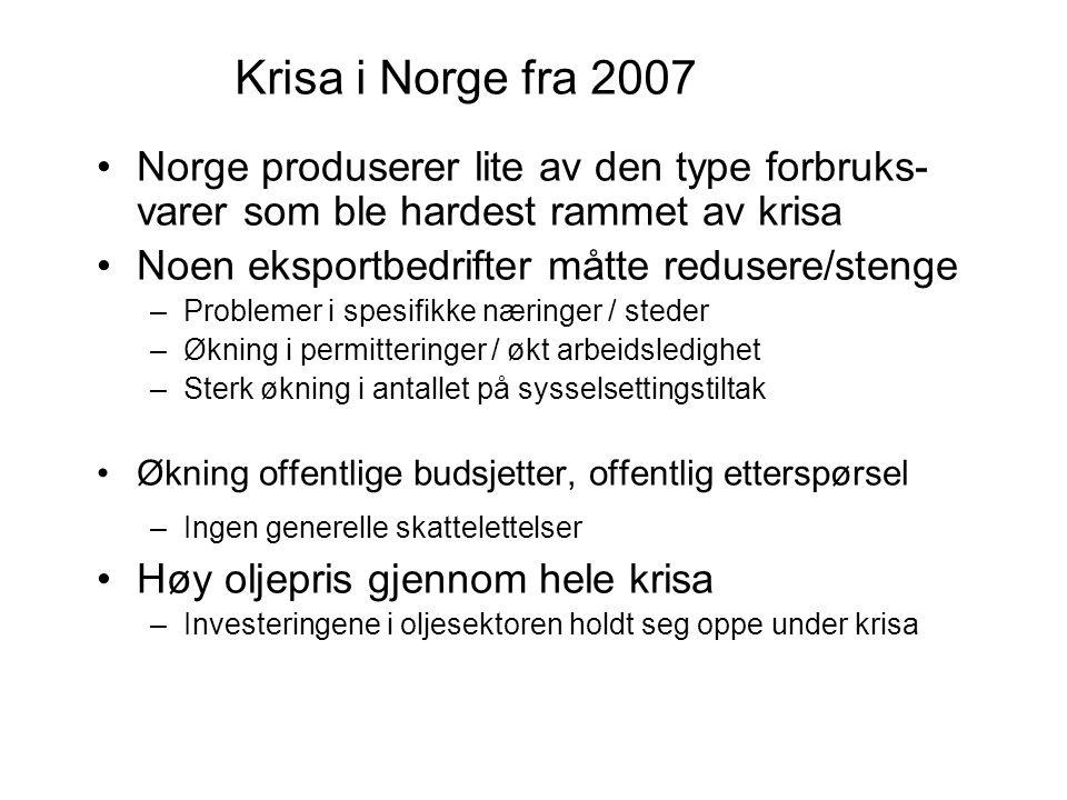 Krisa i Norge fra 2007 Norge produserer lite av den type forbruks- varer som ble hardest rammet av krisa Noen eksportbedrifter måtte redusere/stenge –Problemer i spesifikke næringer / steder –Økning i permitteringer / økt arbeidsledighet –Sterk økning i antallet på sysselsettingstiltak Økning offentlige budsjetter, offentlig etterspørsel –Ingen generelle skattelettelser Høy oljepris gjennom hele krisa –Investeringene i oljesektoren holdt seg oppe under krisa